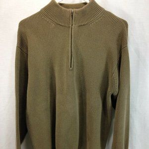 LL Bean Sweater Mens Large Olive Green Pullover